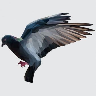 ハト鳥の低ポリアート