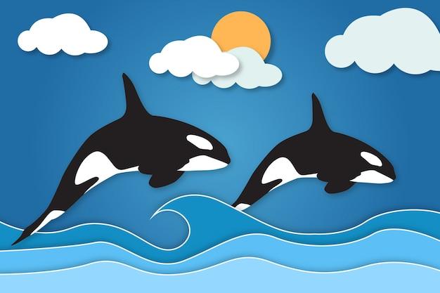 ペーパーカットスタイルのクジラのカップル