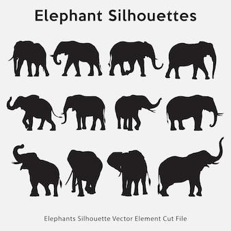 Коллекция слонов силуэт