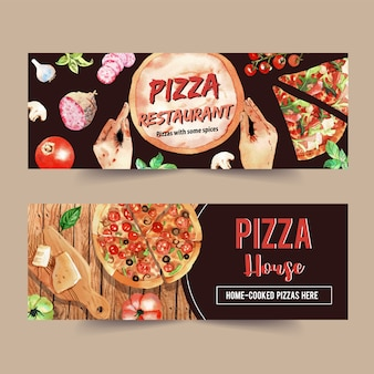 Пицца баннер дизайн с сыром, пицца, грибы, базилик акварельные иллюстрации.