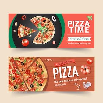 Пицца баннер дизайн с пиццей, помидор, тыква акварельные иллюстрации.