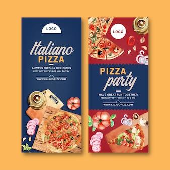 Дизайн листовки с пиццей, чайник, чеснок акварель иллюстрации.