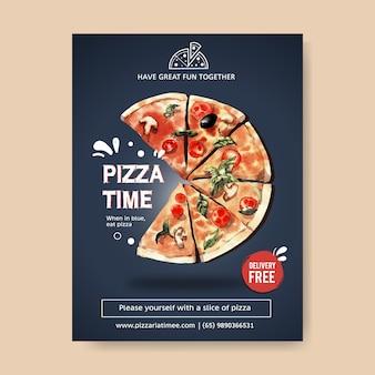 Дизайн плаката пиццы с иллюстрацией акварели пиццы.