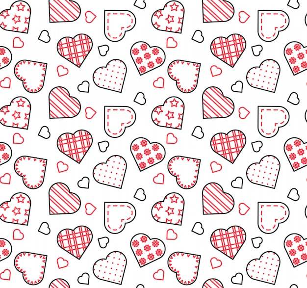 聖バレンタインデー、愛、日付のテーマのラインブラック、白と赤のシームレスなパターン。