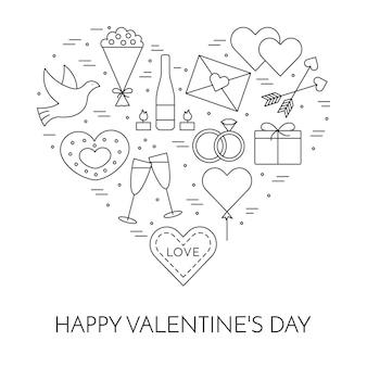セントバレンタインデーと日付のテーマのための線の薄いアイコンのバナー。