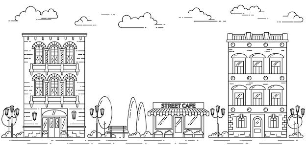 住宅、カフェ、木、雲と街の風景。ベクトルイラストフラットラインアート
