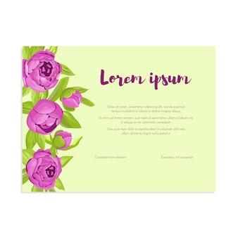 記号付きのフレームに紫のヴィンテージ牡丹。柔らかいレトロなバナー。