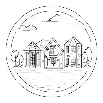 プライベートの別荘、白い背景の上の庭のある郊外の風景。