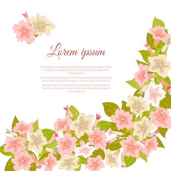白地にピンクのパステル調のビンテージ花