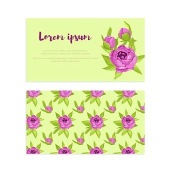 紫色のビンテージ花のフレーム