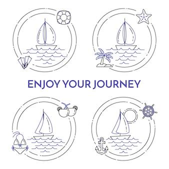 ヨットと旅行水平方向のバナーの設定