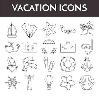 休暇のシンボルと細い線アイコンのセット