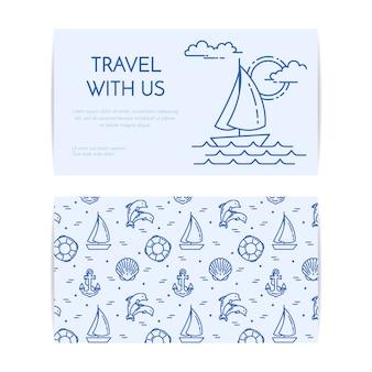 ヨットの波で旅行水平バナー