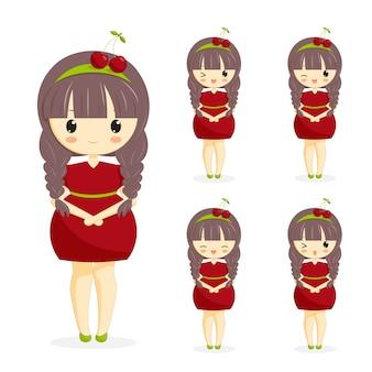 白い背景で隔離の髪の装飾と桜のドレスでかわいいかわいい女の子のセットです。女性キャラクターベーカリー、カフェ、デザートバナー、チラシ、ウェブサイトのためのベリーのテーマ。ベクトルイラスト