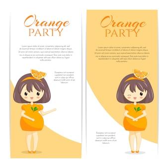 白い背景で隔離の髪の装飾とオレンジ色のドレスでかわいいかわいい女の子のセットです。女性キャラクターベーカリー、カフェ、デザートバナー、チラシ、ウェブサイトのフルーツのテーマ。ベクトルイラスト