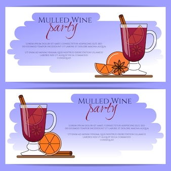 グリューワインのバナー。シナモン、オレンジ、スターアニスとホット赤ワイン。フラットラインアートスタイル。ベクトルイラスト秋、冬、クリスマス、新年、名刺、販売チラシ、広告のコンセプト