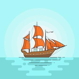 色の船は白い背景で隔離の海でオレンジ色の帆。ヨットの旅のバナー。フラットラインアートベクトルイラスト旅行、観光、旅行代理店、ホテル、休暇のカードのための概念。