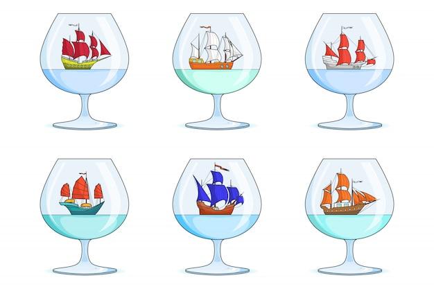 Набор цветных кораблей с парусами в очках. сувениры с парусником, изолированные на белом фоне. дорожное украшение. плоская линия арт. векторная иллюстрация для поездки, туризма, туристического агентства, отелей.