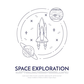 Космическое путешествие линии баннер. набор элементов планет, космических кораблей, нло, спутника, подзорной трубы и других пиктограмм космоса. концепция сайта, карты, инфографики, рекламы. векторная иллюстрация