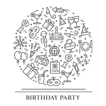 День рождения вечеринка тема горизонтальный баннер.