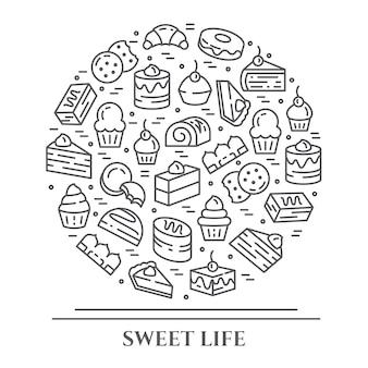 ケーキとクッキーのテーマの水平方向のバナー。