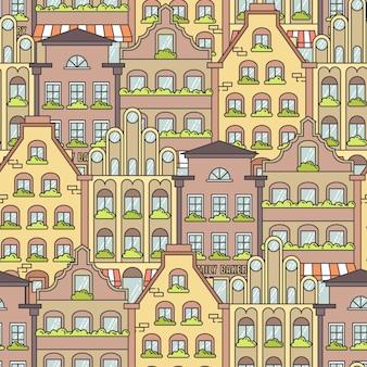 街の風景のシームレスパターン