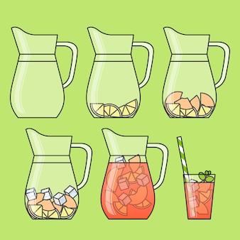 フルーツスライスと桃のレモネード