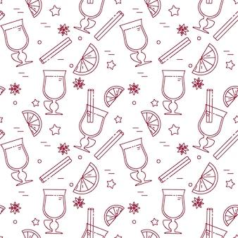 ラインアートの冬ワインシームレスパターン。