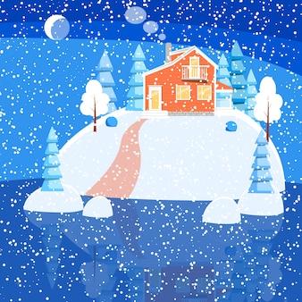 粉雪の家、木々、湖の雪に覆われた地面にスプルースがある冬の風景。