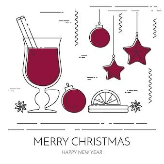 冬の横長のワインのバナー。フラットラインアートスタイル。