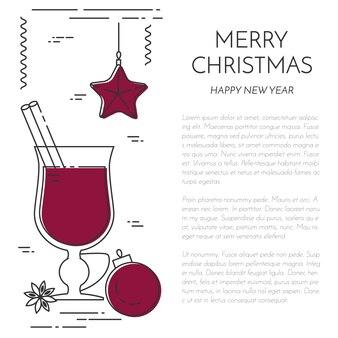 冬の縦向きのワインのバナー。フラットラインアートスタイル。