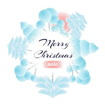 Распечатать новогодняя елка снежная равнина с рождеством