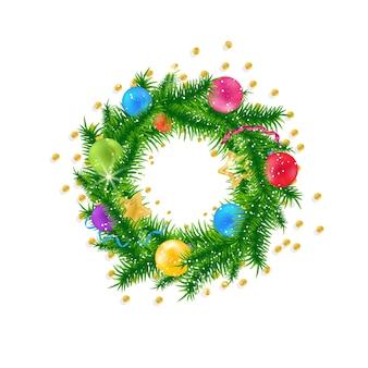 クリスマスの花輪のベクトルシンボルクリスマスツリーを印刷する