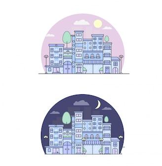Печать города улица днем и ночью векторная иллюстрация городских