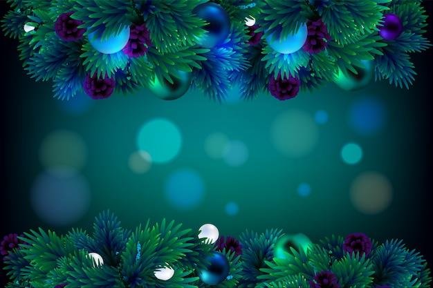 緑のコーンとクリスマスツリーの枝フレーム