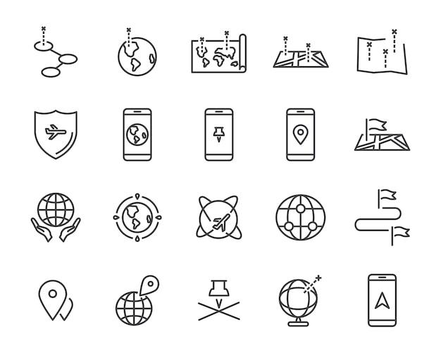 Набор иконок линии карты мира