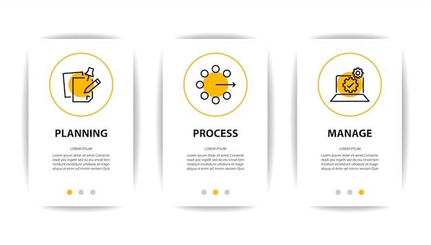 ビジネスアイコンが表示されたモバイルアプリケーションの画面