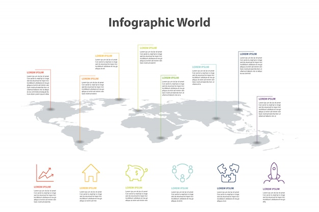 世界地図要素のインフォグラフィック
