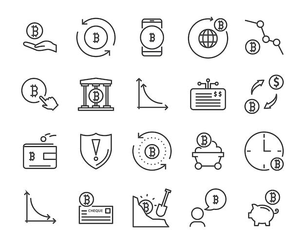 線のアイコンセット、暗号通貨アイコン、ブロックチェーンのアイコンコレクション、ベクトルイラスト