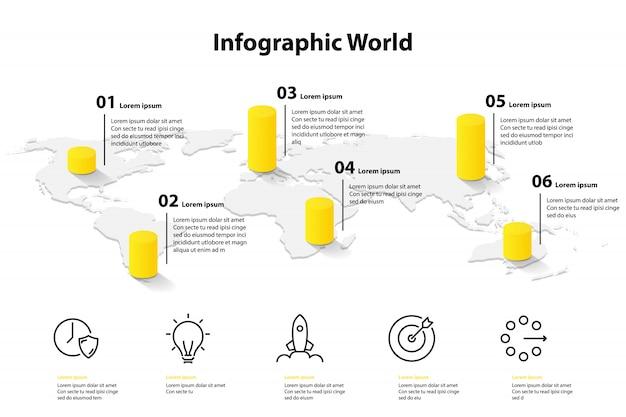 インフォグラフィックテンプレート世界地図、交通機関通信情報計画の位置