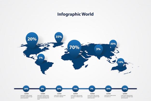 インフォグラフィック世界地図、交通通信情報計画立案