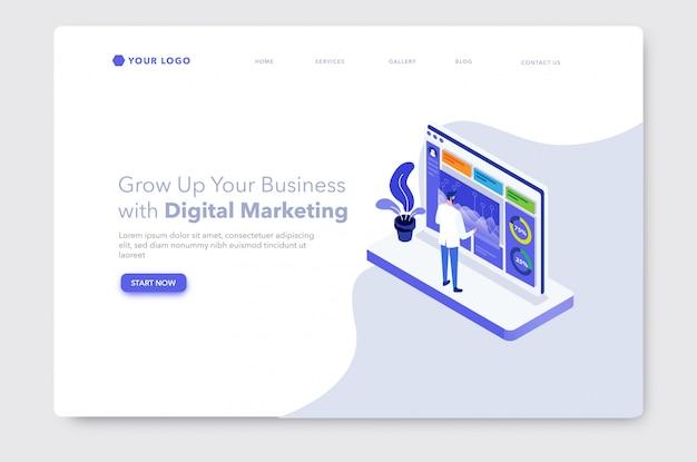 データ分析またはデジタルマーケティングのアイソメ図ウェブサイトのランディングページ
