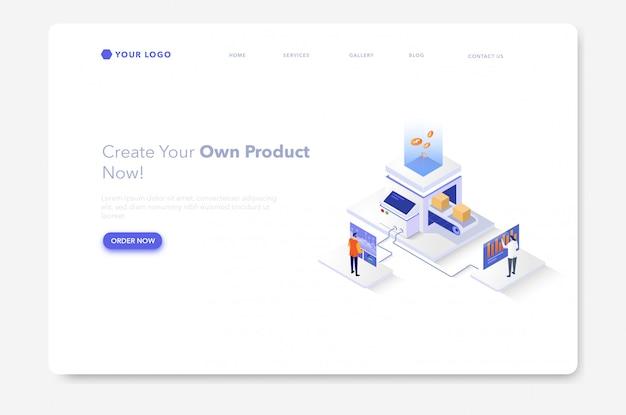 工場または生産のアイソメ図ウェブサイトのランディングページ