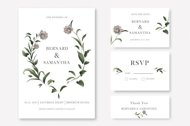 緑の花の結婚式の招待カードテンプレート
