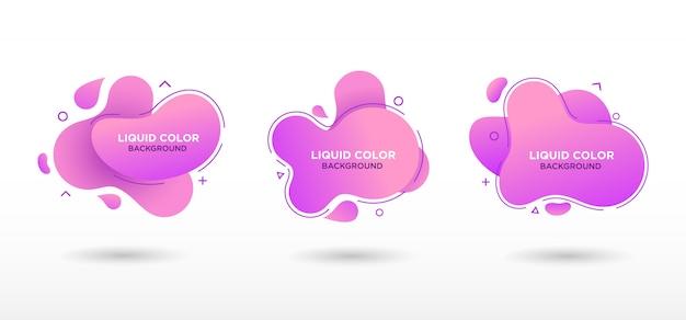 グラデーションカラーの平らな幾何学的な液体の形。