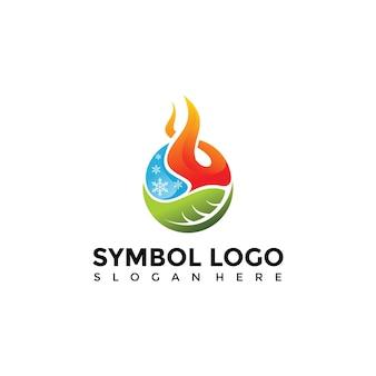 Элемент символ огня, воды, природы шаблон логотипа