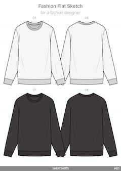 スウィートシャツファッションフラットテクニカルドローイングテンプレート