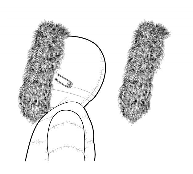 Шаблон дизайна векторные иллюстрации мех для капюшона