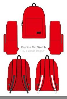 バックパックファッションフラットテクニカルドローイングベクトルテンプレート