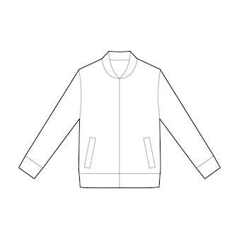 ジャケットアウターファッションフラットテクニカルドローイングベクトルテンプレート